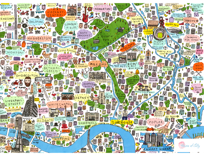 Illustrated Map of East London House of Cally – Map of East London