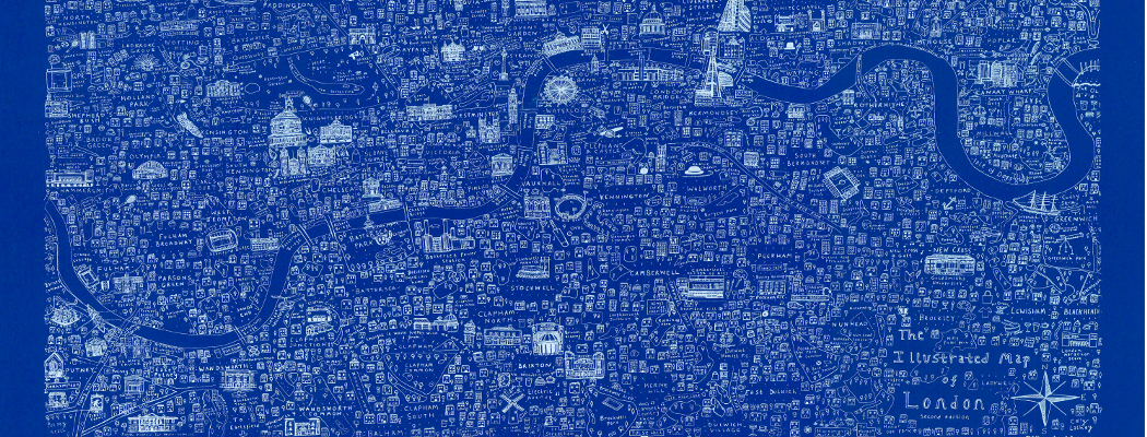 Illustrated Map of London - blue screen print