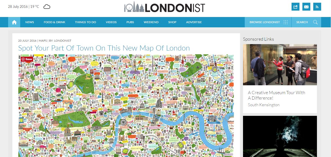 Illustrated Map of London as seen on The Londonist