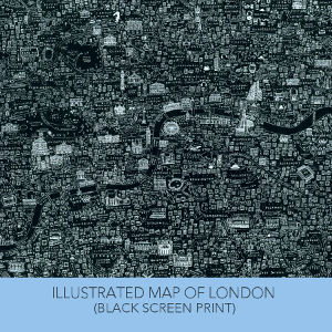 Limited edition black screen printed Map of London by House of Cally