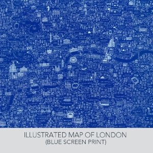 Limited edition blue screen printed Map of London by House of Cally