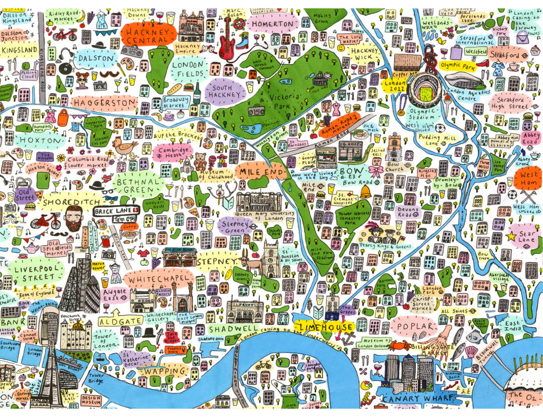 House of Cally Detailed handdrawn Illustrated map of East London