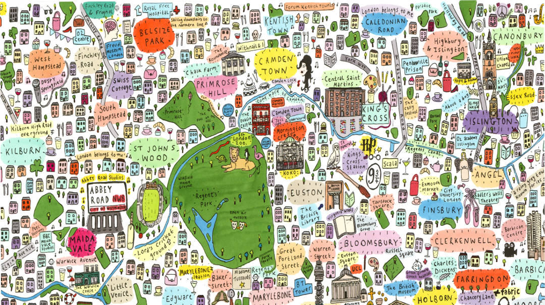 House of Cally - Hand-drawn Illustrated Map of North London