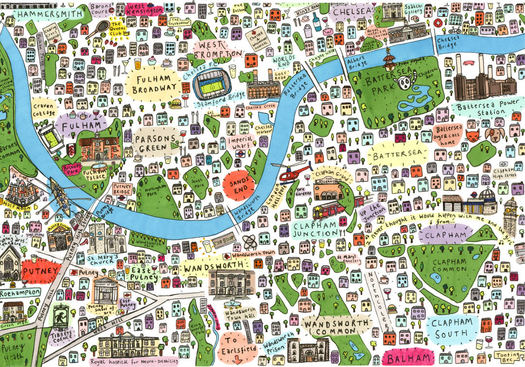 Illustrated map of South-West London by House of Cally