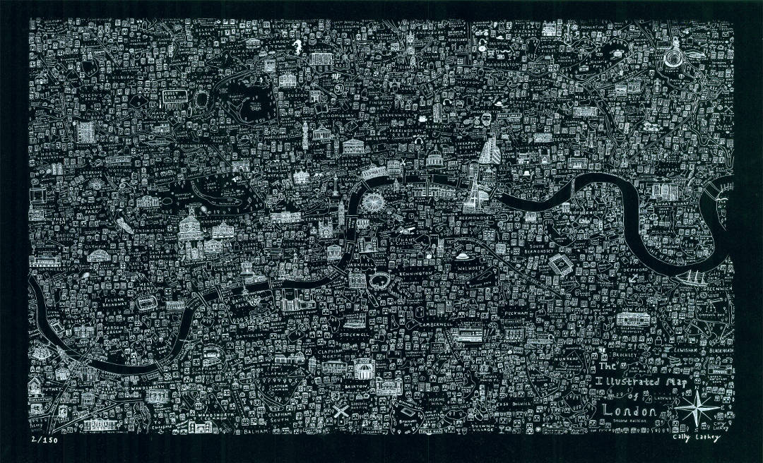 Black screen printed map of London by House of Cally