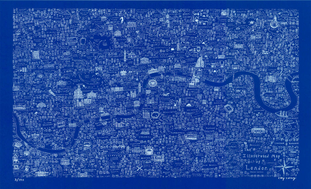 Blue screen printed map of London by House of Cally