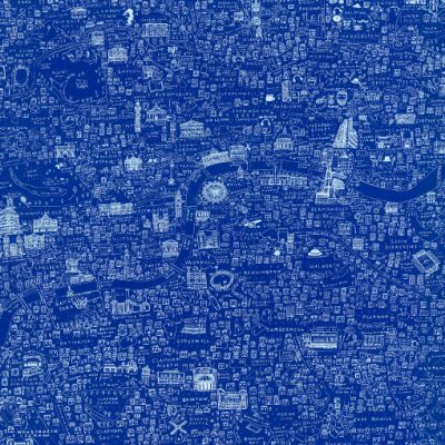Blue screen printed Illustrated Map of London