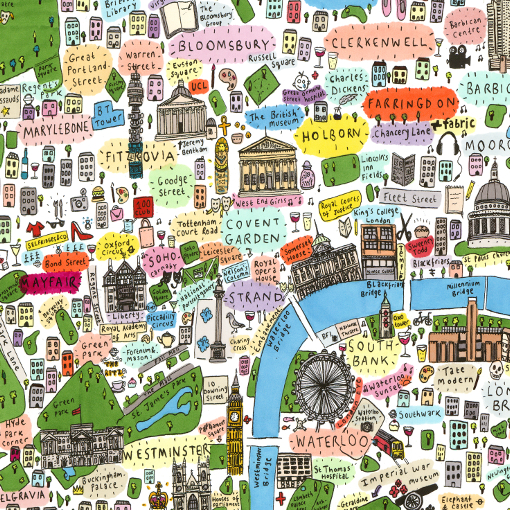 House of Cally Illustrated map of Central London by House of Cally
