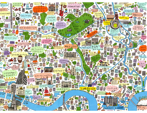 House of Cally  Illustrated map of East London by House of Cally