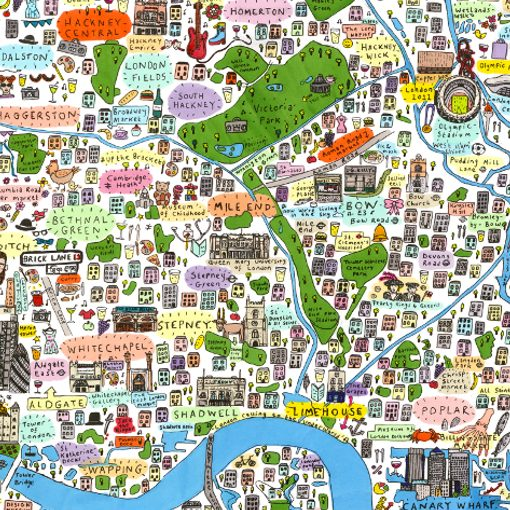 Illustrated map of East London