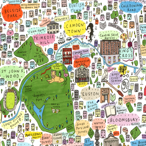 North Of London Map.Illustrated Map Of North London