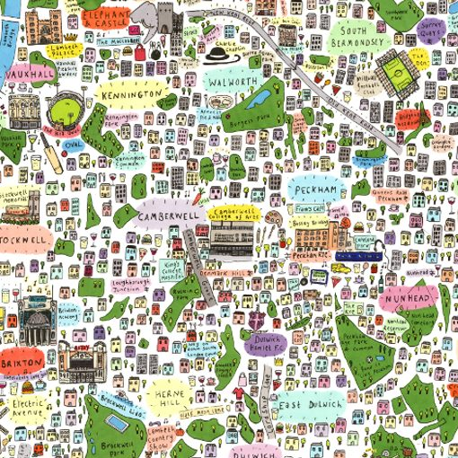 South East London Map.Illustrated Map Of South East London