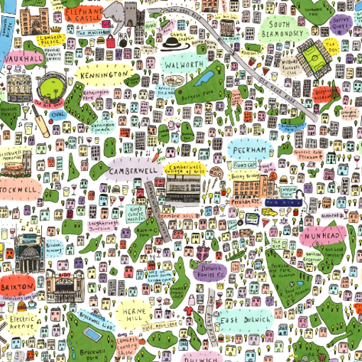 East London On Map.Illustrated Map Of South East London