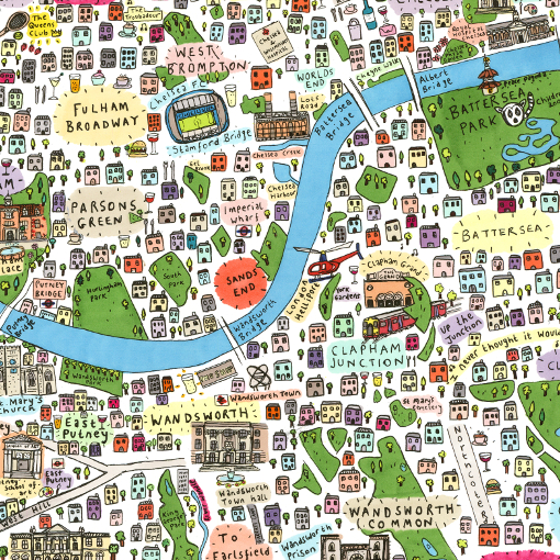 South London Areas Map.Illustrated Map Of South West London