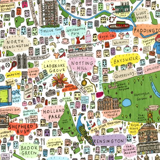 South West London Map.House Of Cally Illustrated Map Of West London By House Of Cally