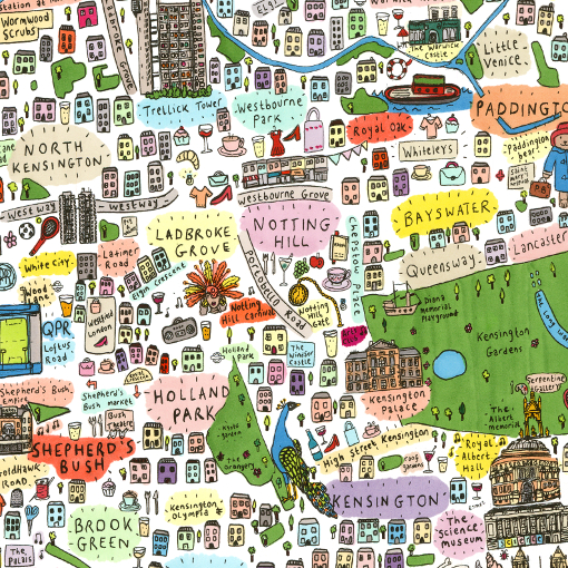 Map North West London.Illustrated Map Of West London