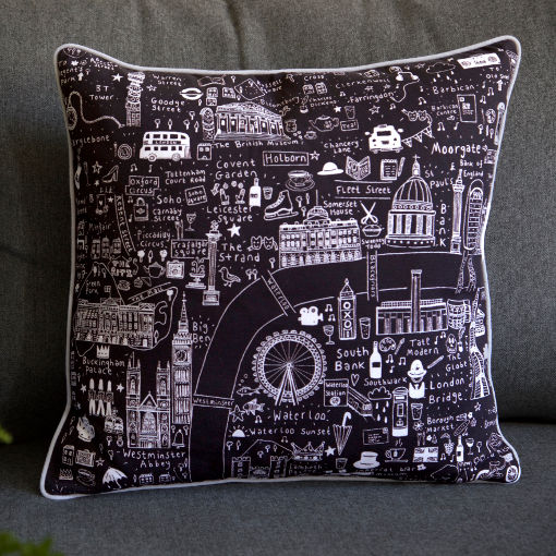 Illustrated Map of London Cushion (black and white) by House of Cally