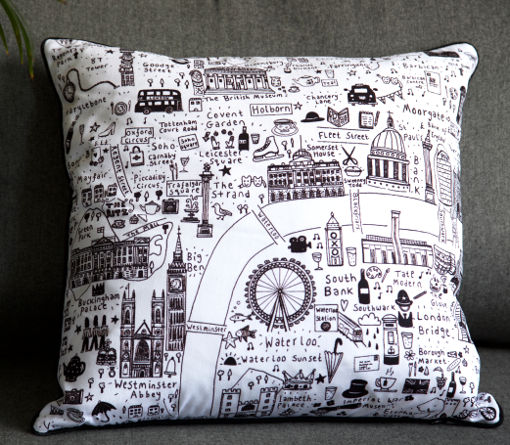 Illustrated map of London cushion (white and black) by House of Cally