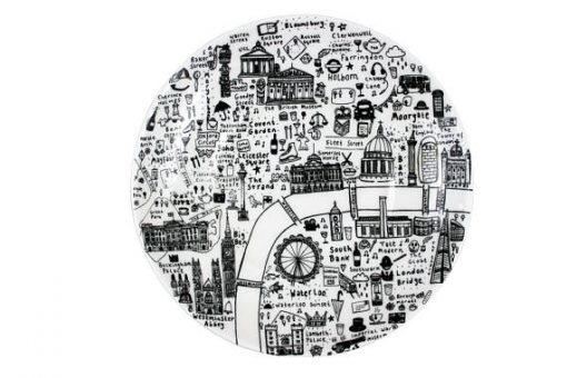 Illustrated Map of Central London Side Plate by House of Cally