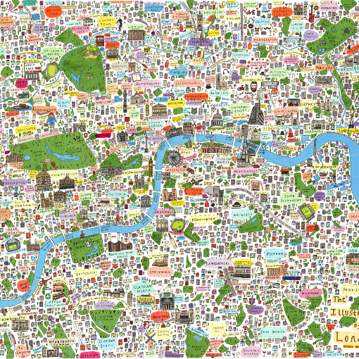 Map To London.Illustrated Map Of London A0 B2
