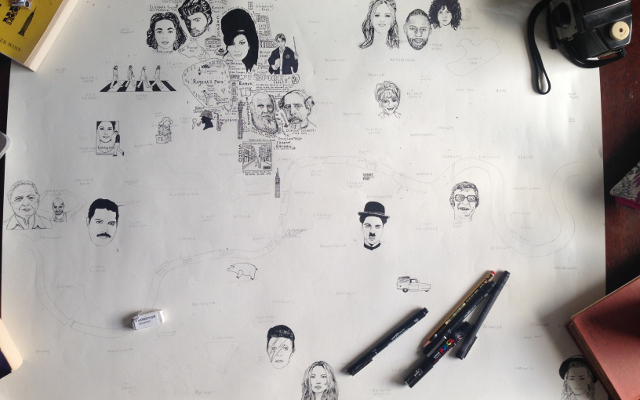 I started by drawing in the famous London residents and working from there.