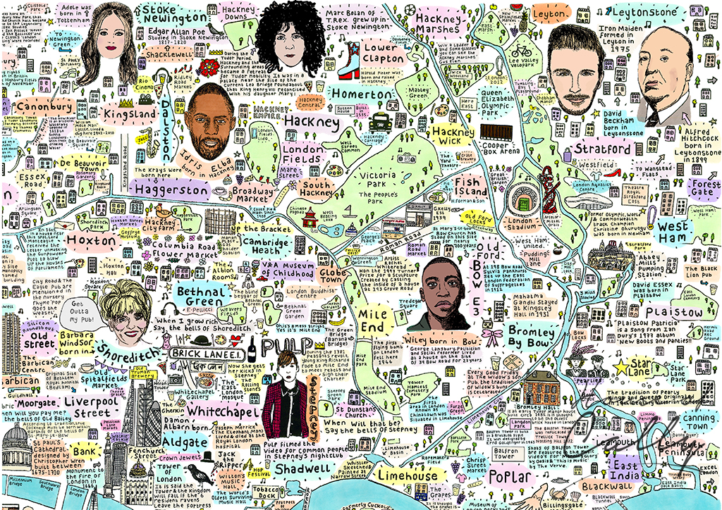 Illustrated Map of East London History and Culture by House of Cally