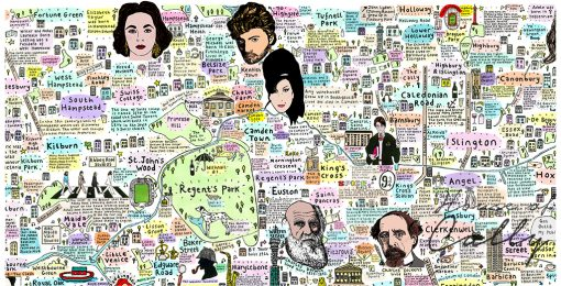 Illustrated Map of North London History and Culture by House of Cally