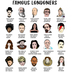 Famous Londoners Print by House of Cally