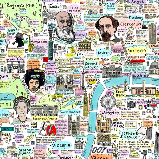 Illustrated Map of Central London History and Culture by House of Cally