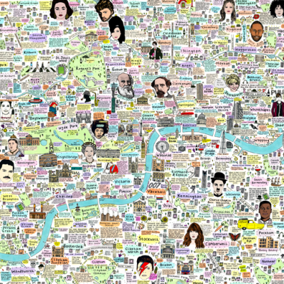Illustrated Map of London History and Culture by House of Cally