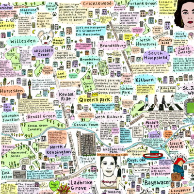 Illustrated Map of North West London History and Culture by House of Cally