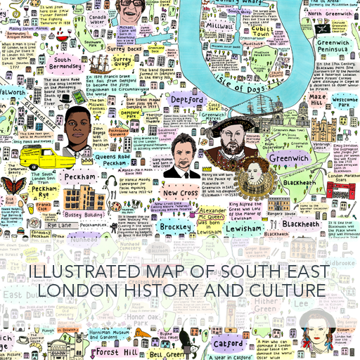 Illustrated Map of South East London History and Culture by House of Cally