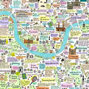 Illustrated Map of South West London History and Culture by House of Cally