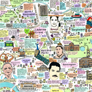 Illustrated Map of West London History and Culture by House of Cally