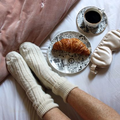 Alpace Wool Bedsocks Ecru