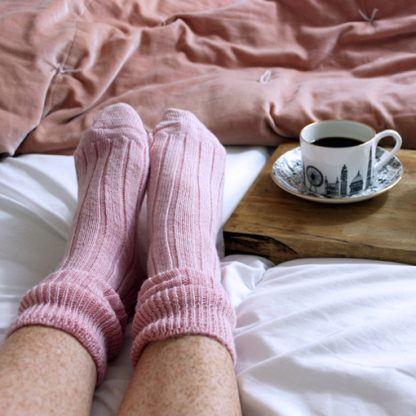 Alpaca Wool Bedsocks (dusty pink) by House of Cally