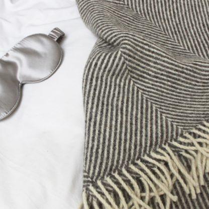 Grey Herringbone Wool Throw