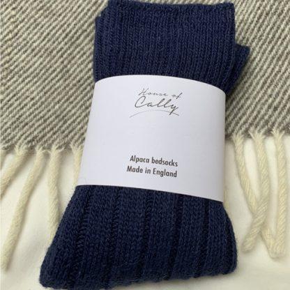alpaca wool bedsocks (navy blue)