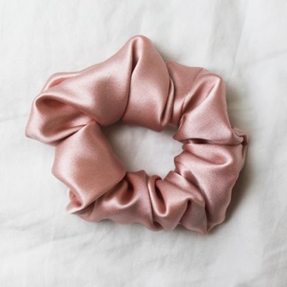 Dusty Pink Jungle Silk Hair Scrunchies from House of Cally